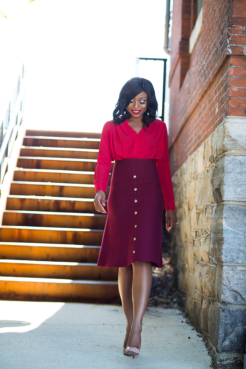 Fall work burgundy color mix, pencil skirt, Christian louboutin