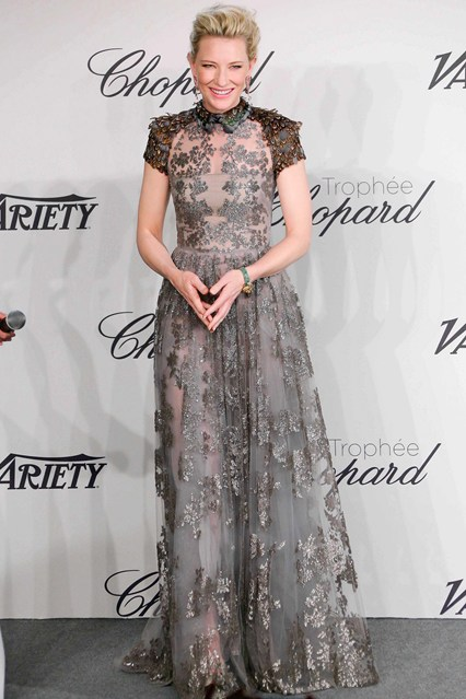 Cate Blanchett in a silver lace Valentino gown at Cannes 2014