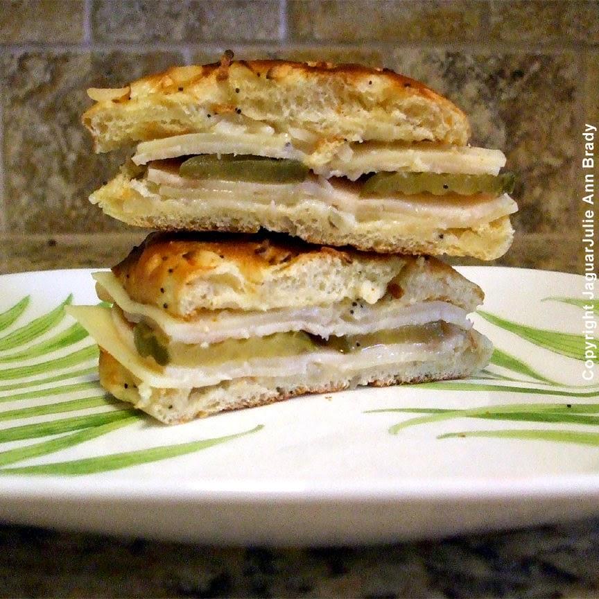 PST Pickles Swiss and Turkey on Onion Schnecken Roll