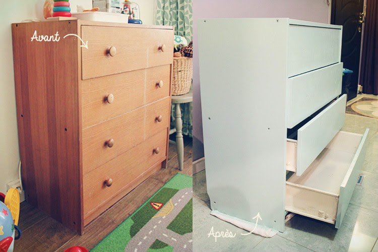 oh baobao diy 2 relooking d 39 une vieille commode d co chambre b b. Black Bedroom Furniture Sets. Home Design Ideas