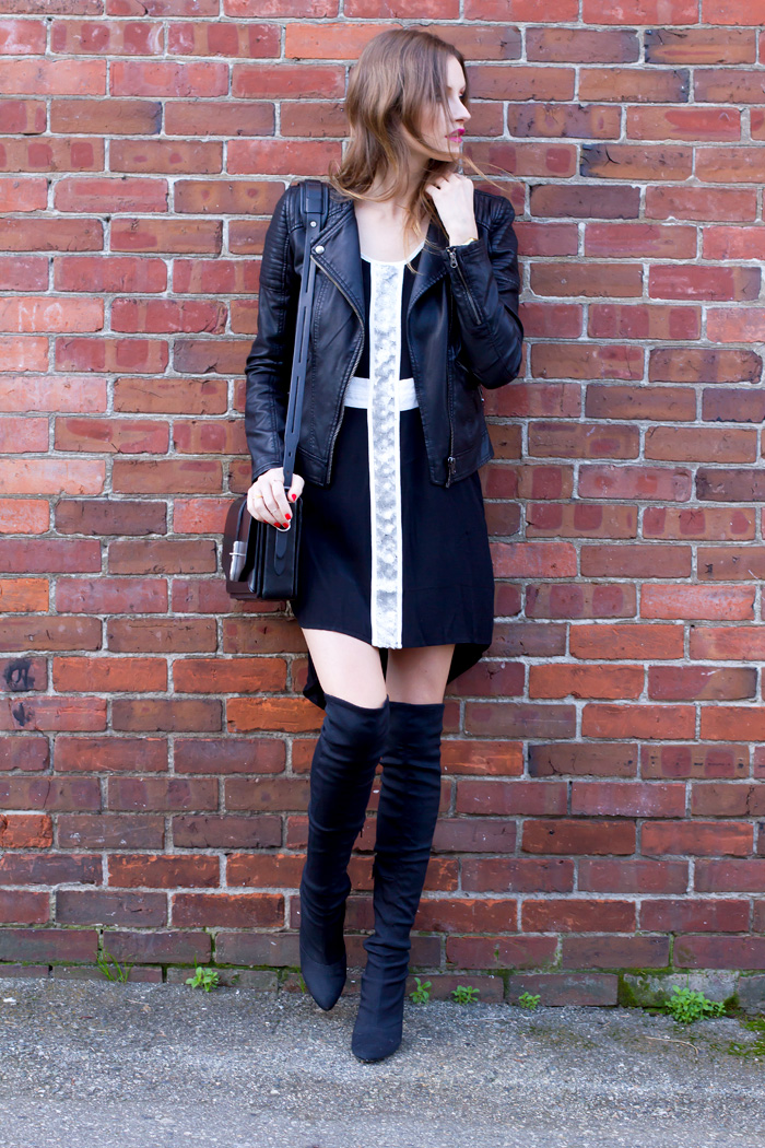 Vancouver Fashion Blogger, Alison Hutchinson is wearing a MinkPink dress, Topshop Leather jacket, Rag & Bone Bag and Nine West Over the Knee boots