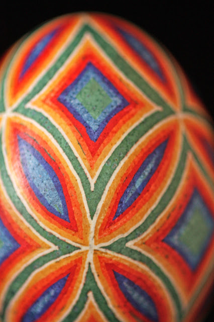Rainbow-Hued Pysanky Geometric Design