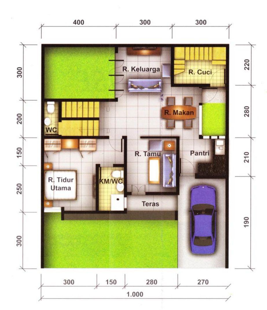 model denah rumah mewah satu lantai idaman
