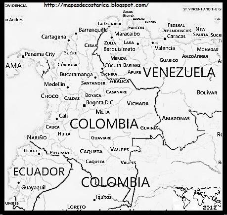 Mapa de COLOMBIA blanco y negro, BING