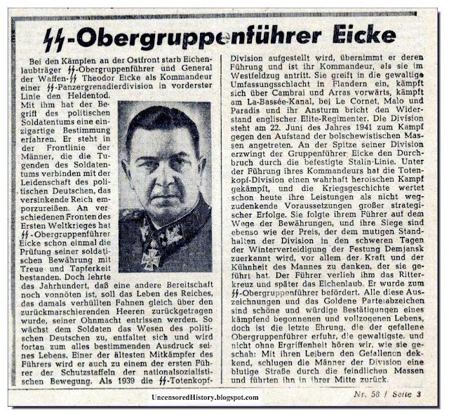 Death notice Theodor Eicke killed 1943  Russia