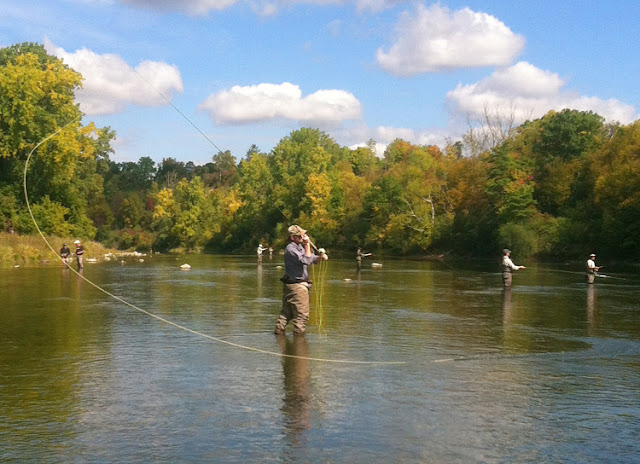 Eastercaster Craig Buckbee spey casting on the Grand River, Paris Ontario