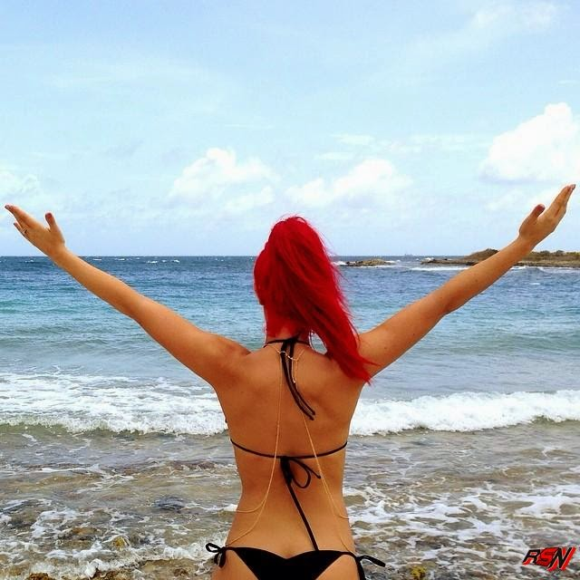 Eva Marie Visits the Beach.