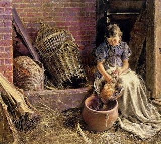 A girl sits in a court yard filled with hay and broken baskets, plucking a chidken