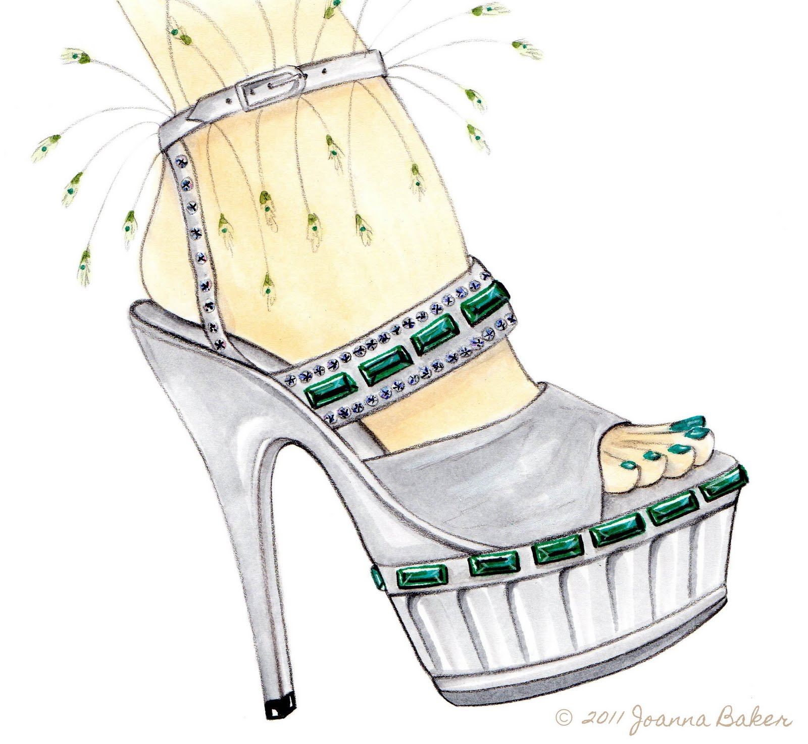 Inspired by the many amazing sketches of Manolo Blahnik from my