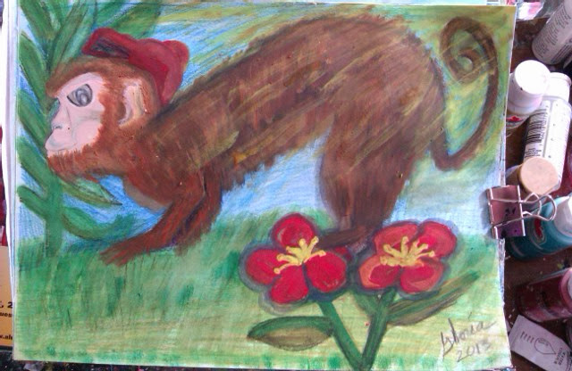 """cartoon-created by Gloria Poole; Oct 2013; and it is named """"redcap monkey"""""""