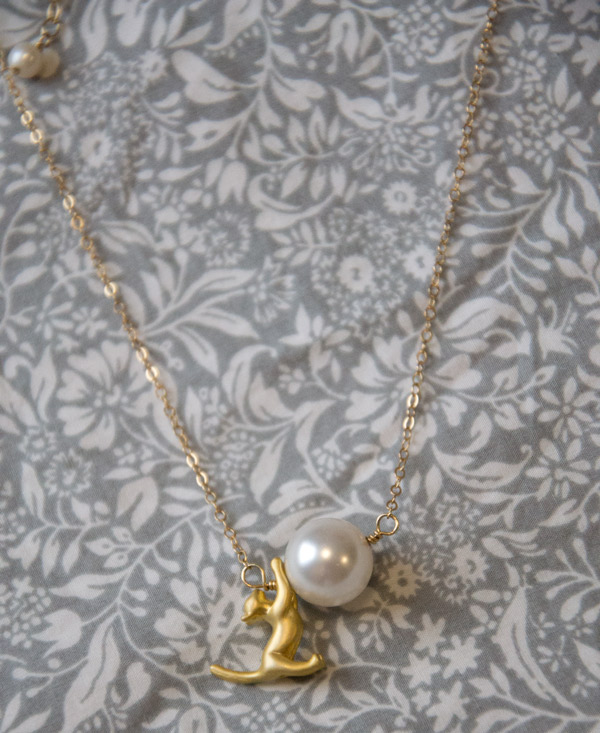 Playful gold cat kitten and pearl ball necklace