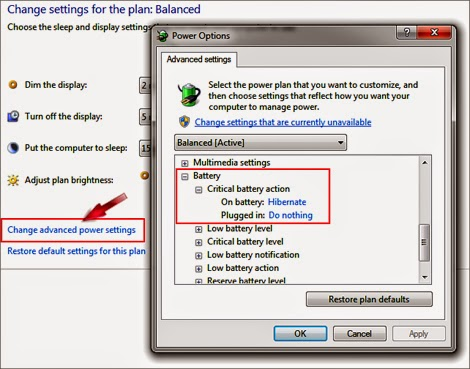 windows seven power saving settings