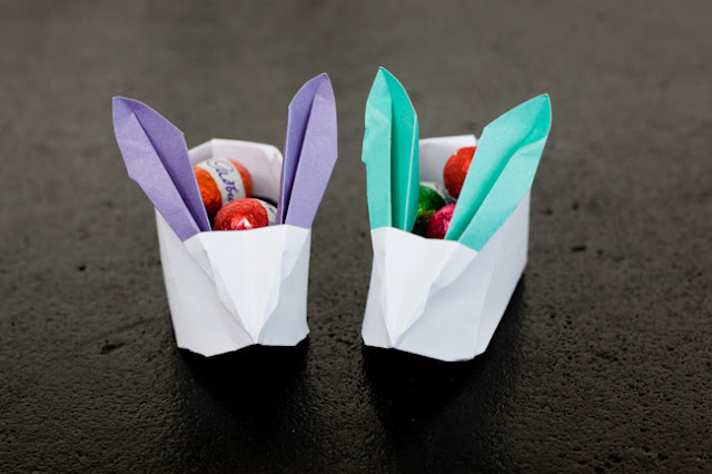 origami easter rabbit baskets