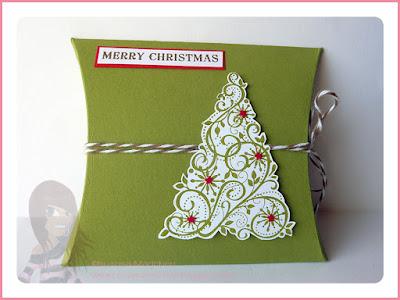 Rosa Mädchen Kulmbach Stampin' Up! Pillow Boxen zu Weihnachten mit Designerpapier und Snow Swirled