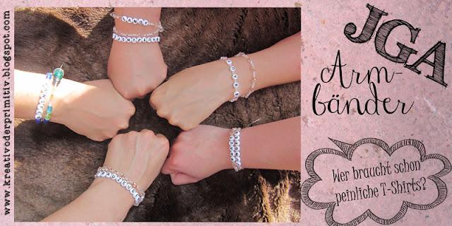 JGA Junggesellenabschied Armband Armkette Blume Haar T-Shirt Gruppe Erkennung Zeichen Perlen selber machen billig alternative stoff kette basteln gemütlich ruhig unauffällig auffällig