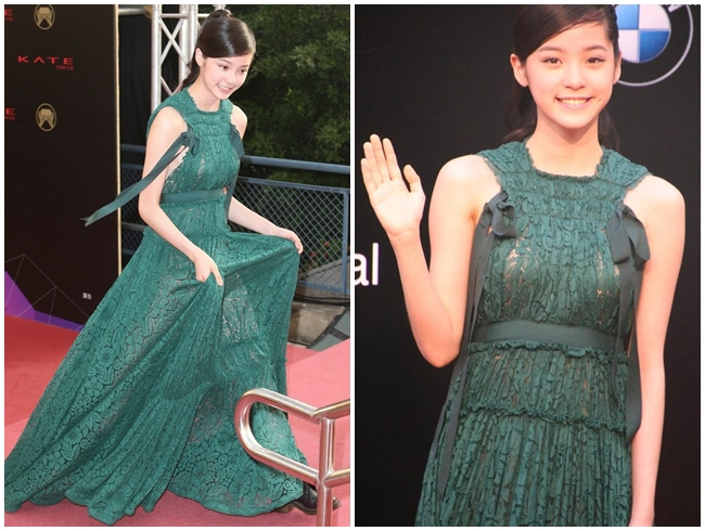 2015 Golden Melody Awards Nana Ou-Yang in Lanvin Resort 2015 Rich Emerald-Green Lace Gown