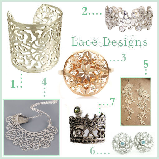 Lace inspired jewellery designs by various jewellery designers