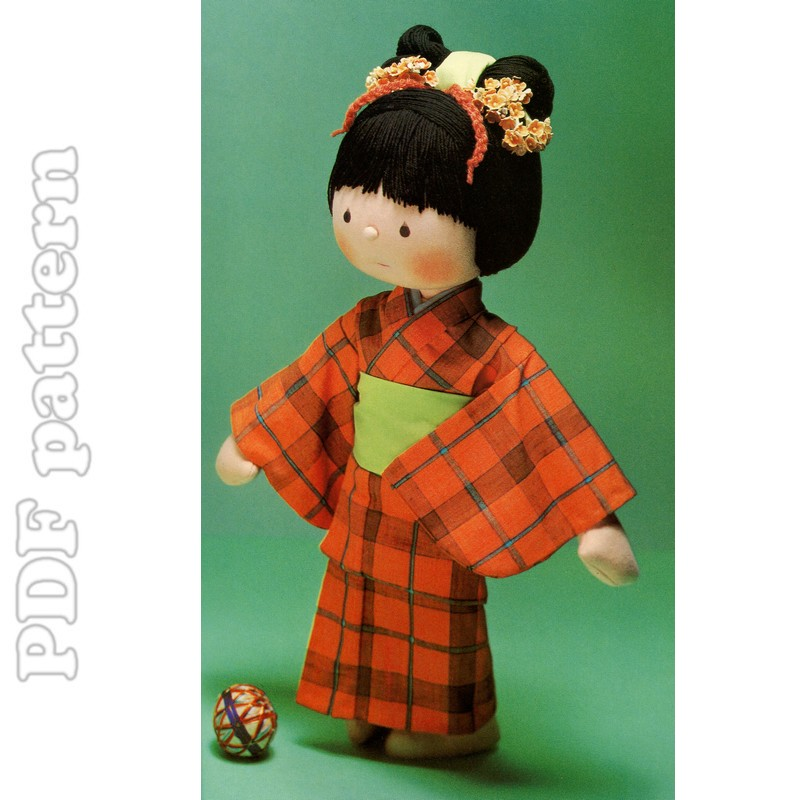 Kimono Rag Doll Plush and Tutorial Sewing Pattern PDF   CraftyLine e ...