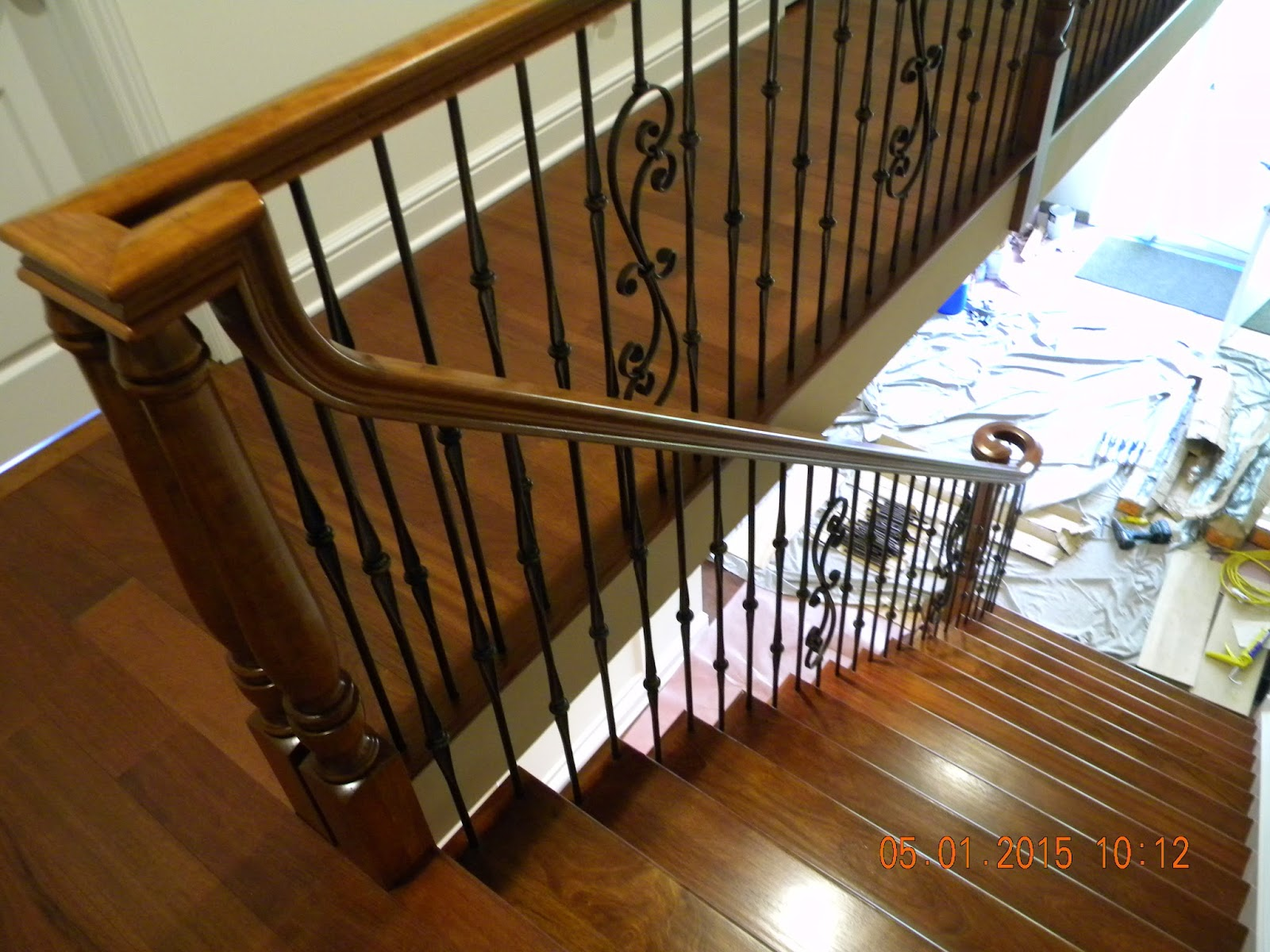 Brazilian Cherry Staircase Oil Rubbed Bronze Iron Balusters Haddon Heights  NJ. After Thirty Years, This Homeowner Decided To Finally Redo His Foyer  The Way ...