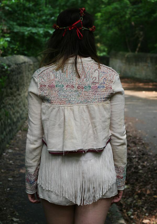 afghan jacket, all saints jacket, hippy, hippie, bohemian, tassel, native american, flower, rose, head chain, flower headwear, traditional afghan jacket, wooden heels, fashion, style, uk fashion, fashion blogger