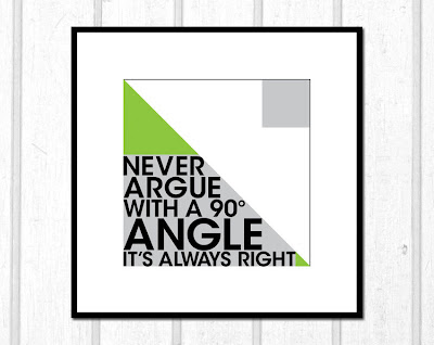 right angle poster with text framed