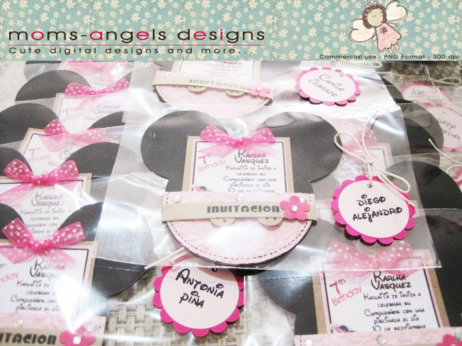 Moms-Angels: Tarjetas de Invitacion Minnie