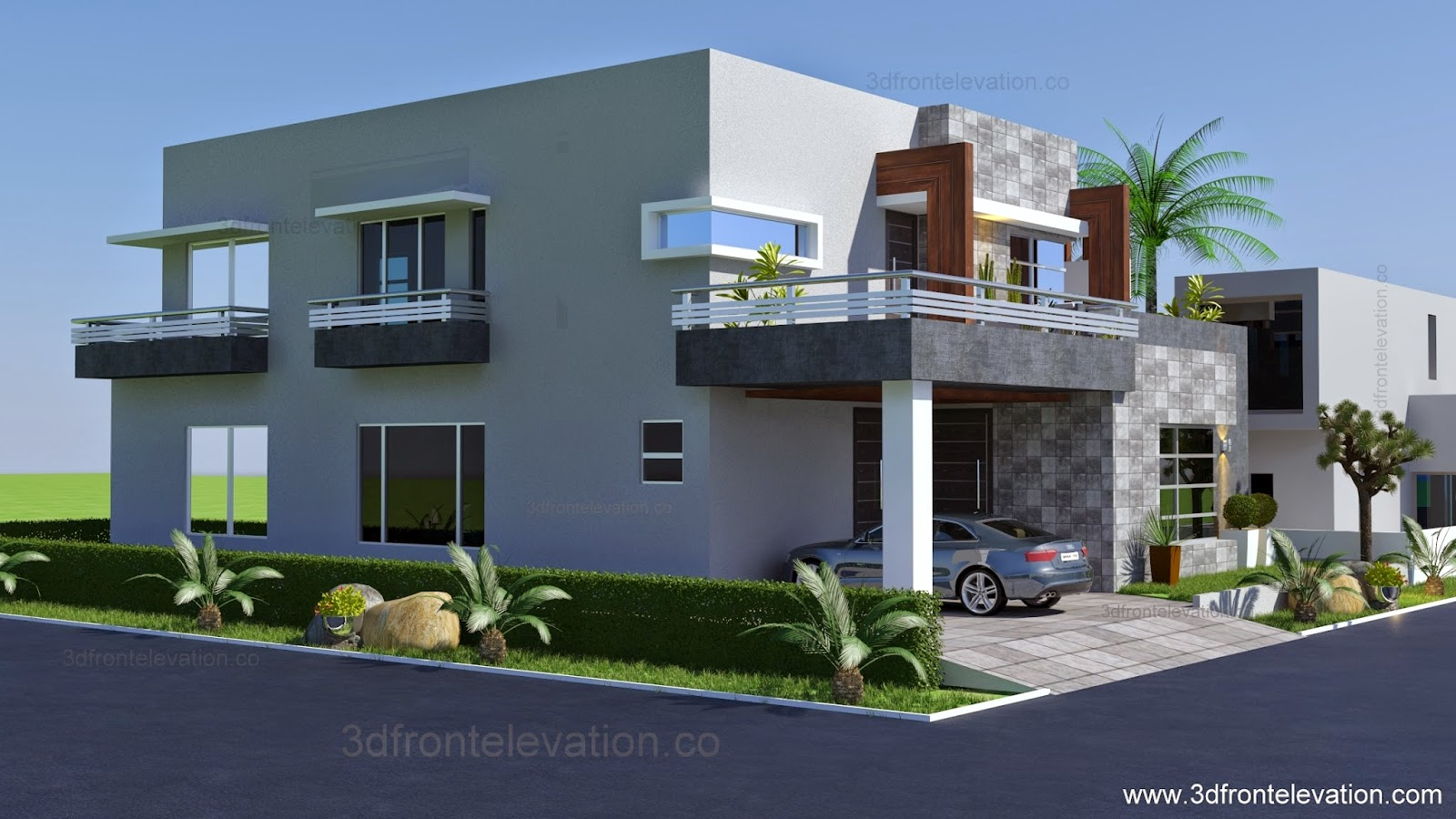 D Front Elevation Maker : D front elevation kanal contemporary house plan