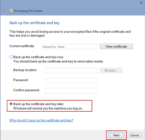 go on file certificate creation without back up now