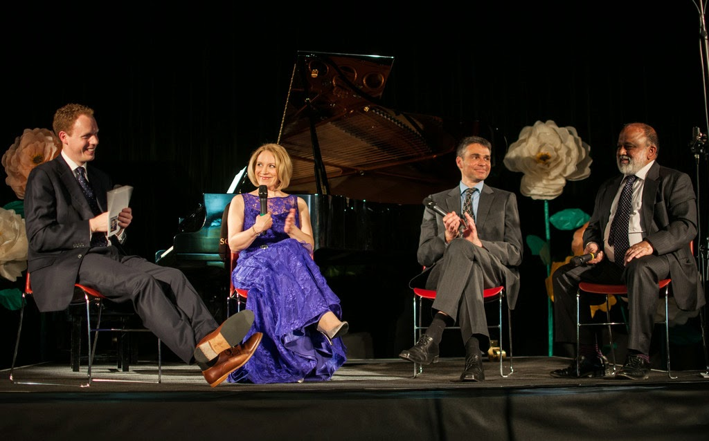 Joseph MIddleton, Carolyn Sampson, Jens Braun, Ashutosh Khandekar at the Q&A after the concert, Rhinegold Live at Conway Hall - © Ceri Wood Photography