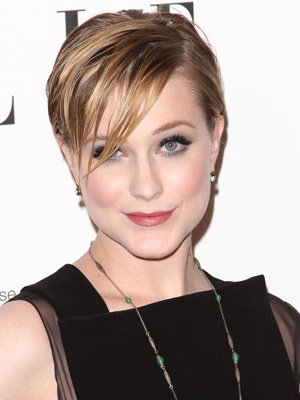 Evan Rachel Wood's piece-y pixie haircut compliments her edgy style.