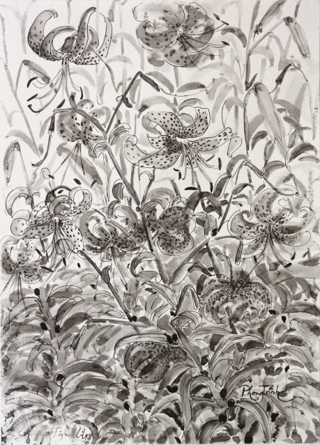 Black Grey and white watercolor painting nature, plants and flowers 29.5x42cm