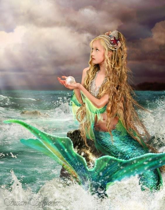 Spiral Moon Fantasy Bl... Fantasy Mermaids On Rocks