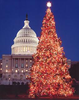 Romantic reg lights Christmas Tree and church