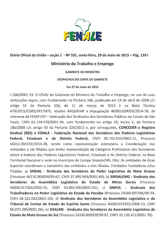FENALE CONQUISTA SEU REGISTRO SINDICAL