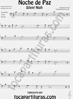 Partitura de NOCHE DE PAZ para Trombón, Tuba Elicón y Bombardino Villancico Christmas Song SILENT NIGH Sheet Music for Trombone, Tube, Euphonium Music Scores