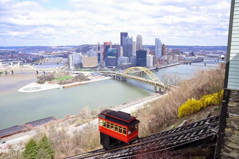 The Duquesne Incline  is an inclined plane railroad, or funicular, located near Pittsburgh's South Side neighborhood and scaling Mt. Washington. Designed by Samuel Diescher.