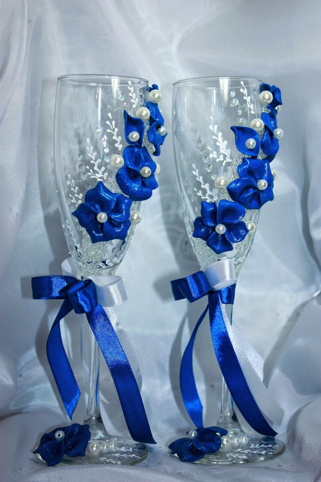 Бокалы для свадьбы своими руками в синем цвете 80