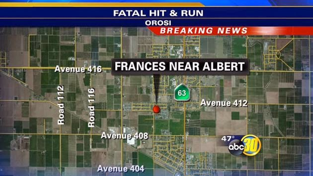 tulare county orosi hit run car crash salud baragan fatality