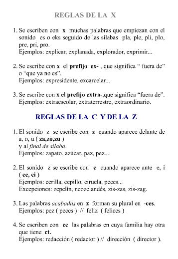 reglas de la X, la C y la Z