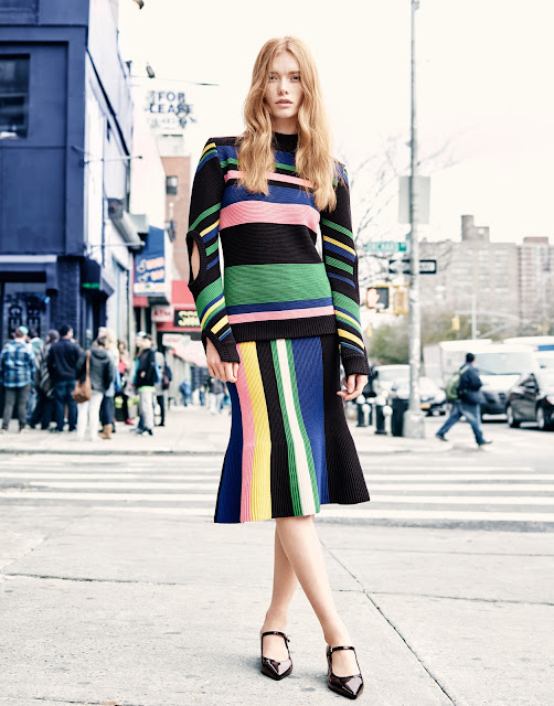 Julia Hafstorm with sweater and skirt  by J.W.Anderson on Cool Chic Style Fashion