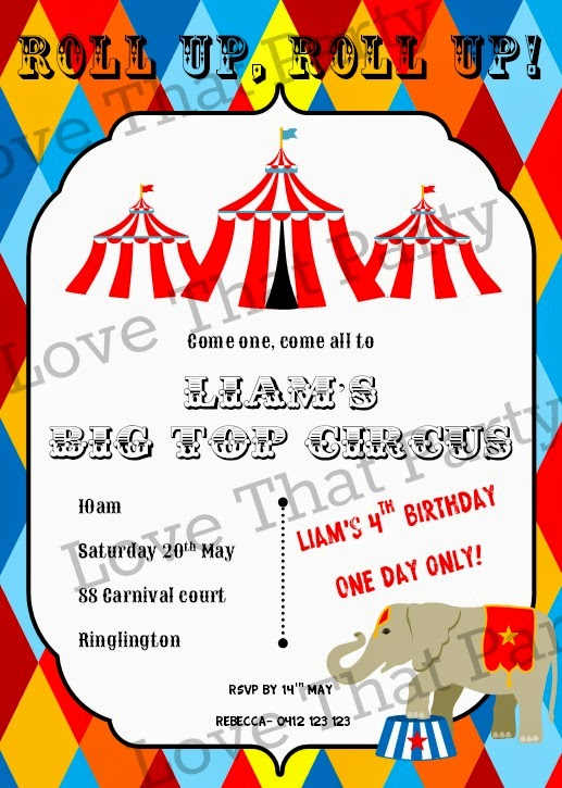 Circus Party Birthday Invitation