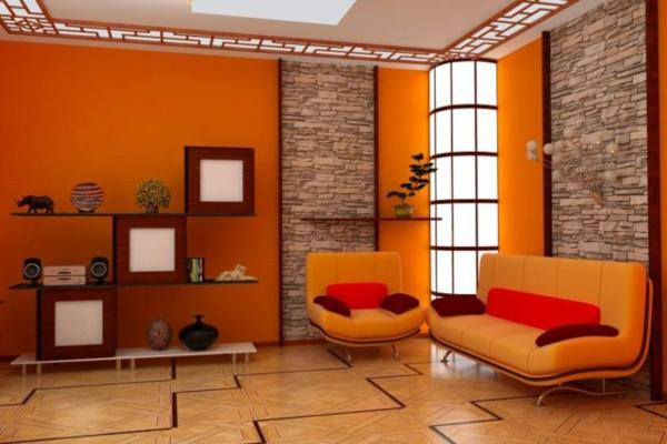 Un diseño de sala estilo oriental donde nuevamente vemos el color