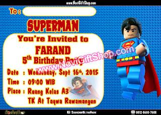 Undangan Superman Tahsin4 Kartu Undangan Ulang Tahun Anak (Invitation Card)