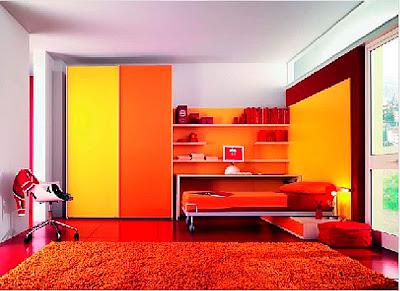 habitación muebles naranja niño