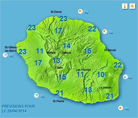 Prévisions météo Réunion pour le Samedi 26/04/14