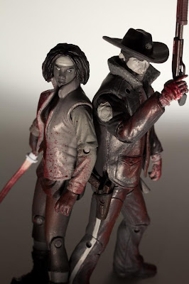 Previews Exclusive Bloody Black and White Rick Grimes & Michonne The Walking Dead Action Figure 2-Pack by McFarlane Toys