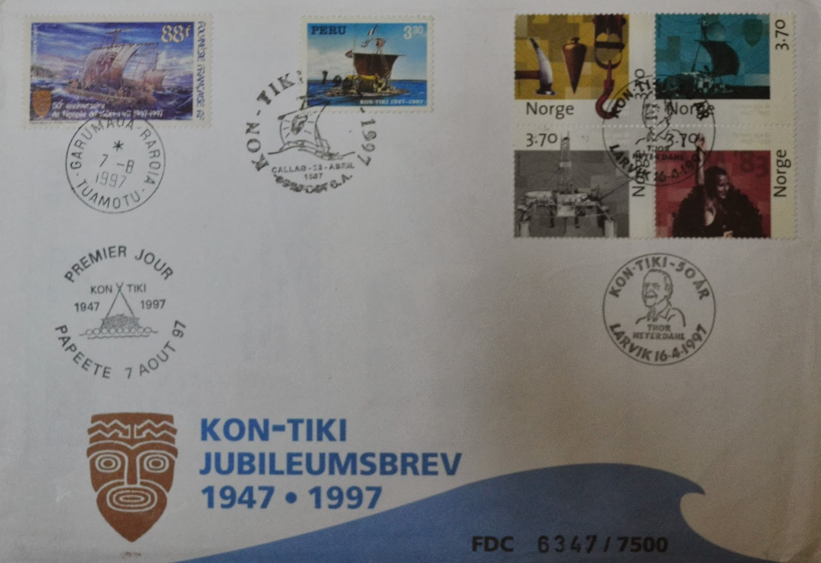 stamp from different part of the world celebration 50 year of Kon tiki expedition