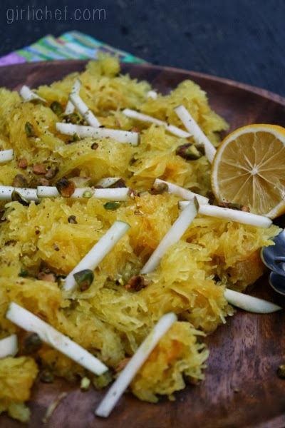 <b>Spaghetti Squash w/ Apples & Pistachios</b> {12 Weeks of Winter Squash}