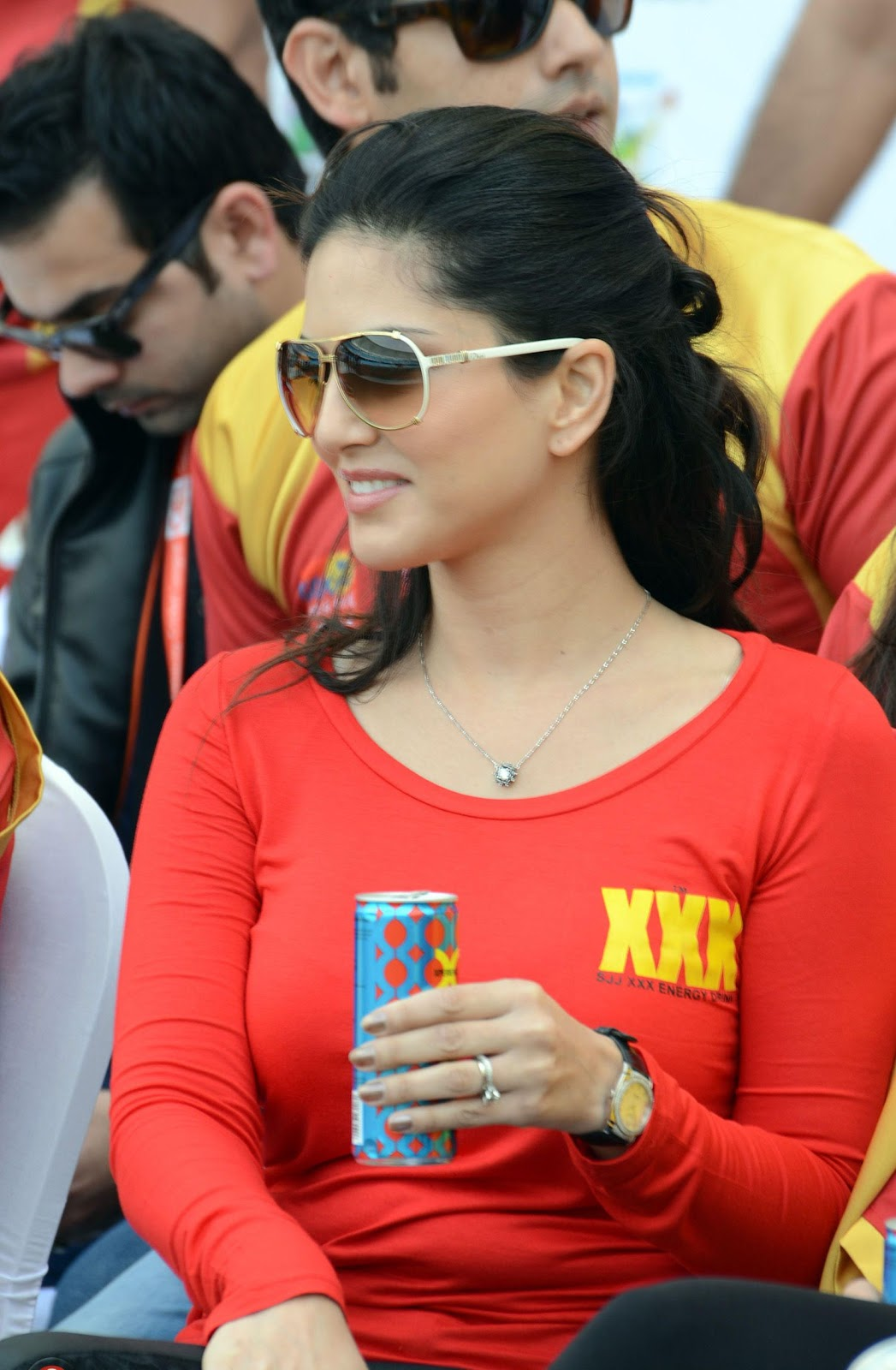 Porn Star Sunny Leone wear XXX Shirt during CCL Match