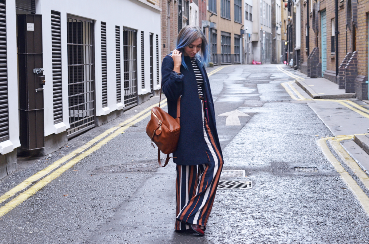Navy Boden Coat and Striped Trousers on Rock On Holly
